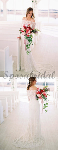 Off Shoulder Long Sleeve Lace Charming Wedding Dresses WD0363