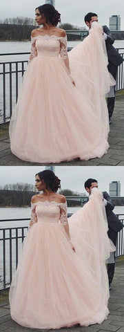 products/Off_Shoulder_Long_Sleeve_Pink_A-line_Wedding_Dresses_Online_WD344.jpg