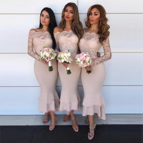 6534259a21a43 Off Shoulder Long Sleeves Mermaid Long Top Lace Elegant Formal Cheap Bridesmaid  Dresses ,WG372