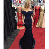 Off Shoulder Navy Blue Mermaid Lace Custom Formal Prom Dresses , Prom Dress PD1895