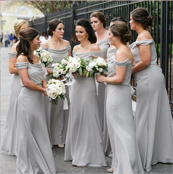 Off Shoulder Spaghetti Straps Light Grey Elegant Custom Cheap Modest Sexy Affordable Bridesmaid Dresses, WG292