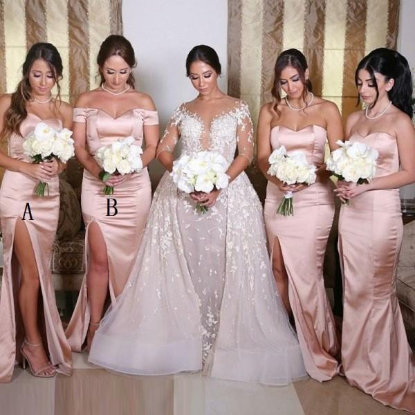 Off Shoulder  Sweetheart Mermaid Split Cheap Simple Popular Pink Long Bridesmaid Dresses , WG0297