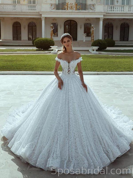 Off the Shoulder Full Lace Elegant Princess Romantic Wedding Dresses,Ball Gown, WD0359