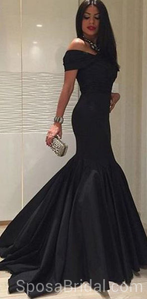 Off the Shoulder Mermaid Black Long Sexy Modest Simple Long Prom Dresses, PD1297