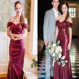 Off the Shoulder Mermaid Sequins Elegant Popular Long Bridesmaid Dresses, WG414