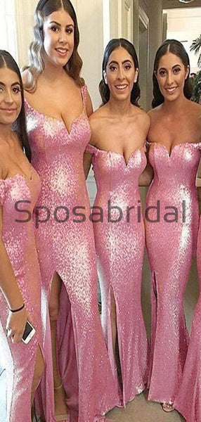 Off the Shoulder Pink Sequin Sparkly Mermad Bridesmaid Dresses WG663