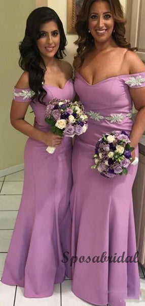 Off the Shoulder Elegant  Long Mermaid Bridesmaid Dresses WG913