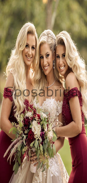 Off the Shoulder Mermaid Modest Bridesmaid Dresses WG785
