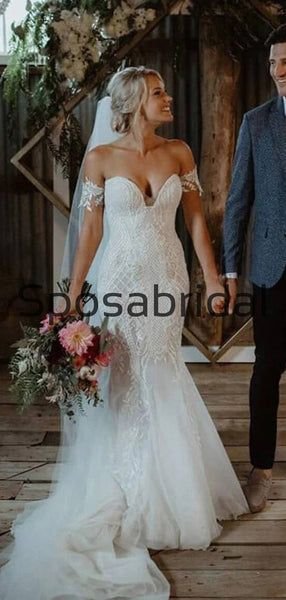 Off the Shoulder Sweatheart Mermaid Beach Long Wedding Dresses WD0554