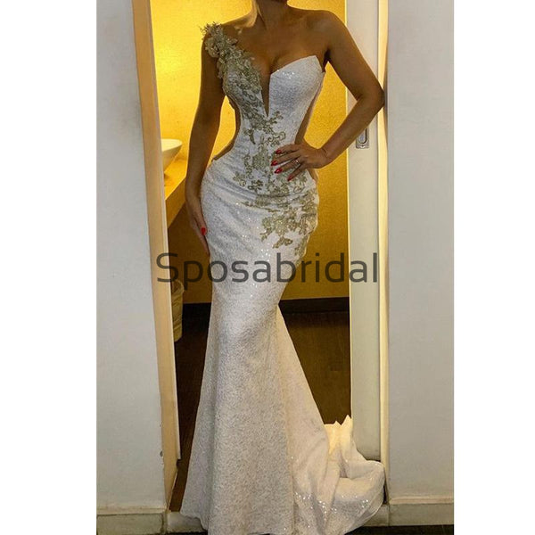 One Shoulder Ivory Sexy Sparkly Glittery Backless Mermaid Prom Dresses PD2329