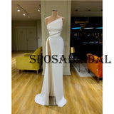 One Shoulder Off White Satin Fashion Mermaid Prom Dresses PD2385