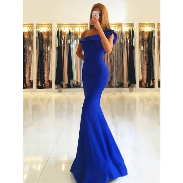 One Off the Shoulder Blue Mermaid Elagent Formal Long Modest Prom Dresses,PD1242