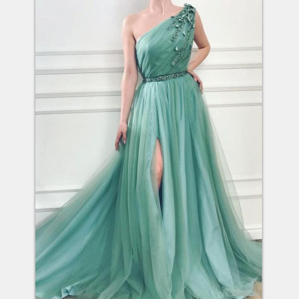 One Shoulder Green Tulle Long Fairy Free Custom Prom Dresses, PD0988