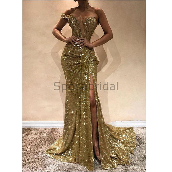One Shoulder Newest Cheap Sequin Shining Sparkly Modest Fashion Long Prom Dresses PD1452
