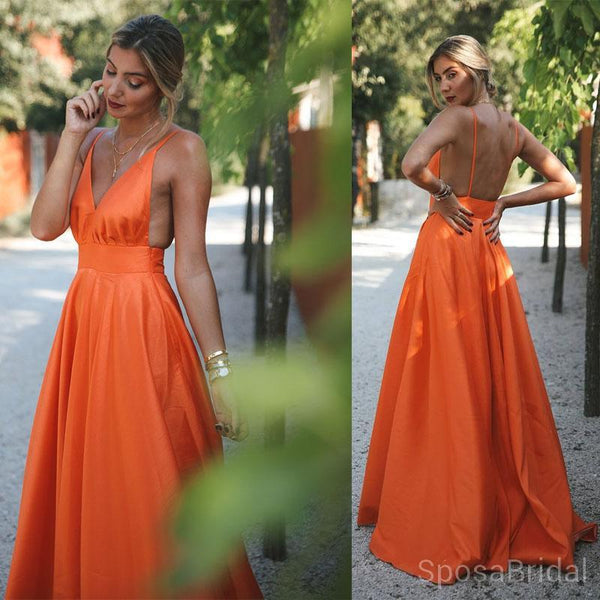 Orange Charming Cheap Modest Spaghetti Straps Pretty High Quality Long Prom Dresses,PD1266