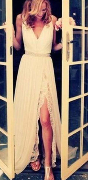 White  Long Lace Elegant Free Custom Handmade Prom Dresses, Cheap Wedding  Dresses, PD0020