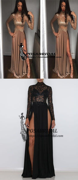 2019  Both Side Split Sparkly Shinning Soft Gorgeous Long Sleeves High Neck Prom Dresses, PD0781