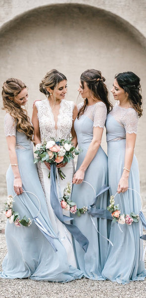 Pale Blue Short Sleeves Lace Mermaid Elegant Most Popular Bridesmaid Dresses WG579
