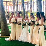 Pastel Yellow Mermaid Unique Elegant Long Bridesmaid Dresses WG887