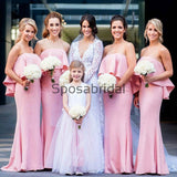 Pink Mermaid Unique Popular Long Bridesmaid Dresses WG889