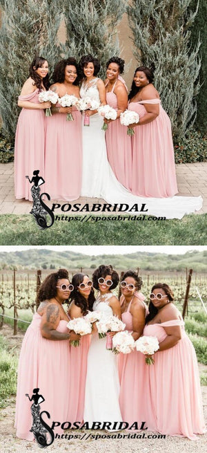 Pink Chiffon Cheap Mismatched Popular Affordable Floor-Length A-Line Bridesmaid Dresses,WG344