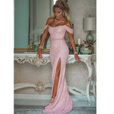 Pink Sequin Sparkly Stunning  Off-the-shoulder Neckline Floor-length Mermaid Prom Dresses,PD1343