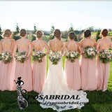 Princess Blush Pink Long Open Back Halt Cheao Chiffon Bridesmaid Dresses,WG343