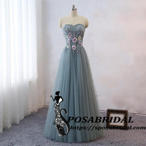 Long Sweetheart Unique Desigh Prom Dresses, Lace Tulle Bridesmaid Dresses for Wedding Party Guest Dress,WG326