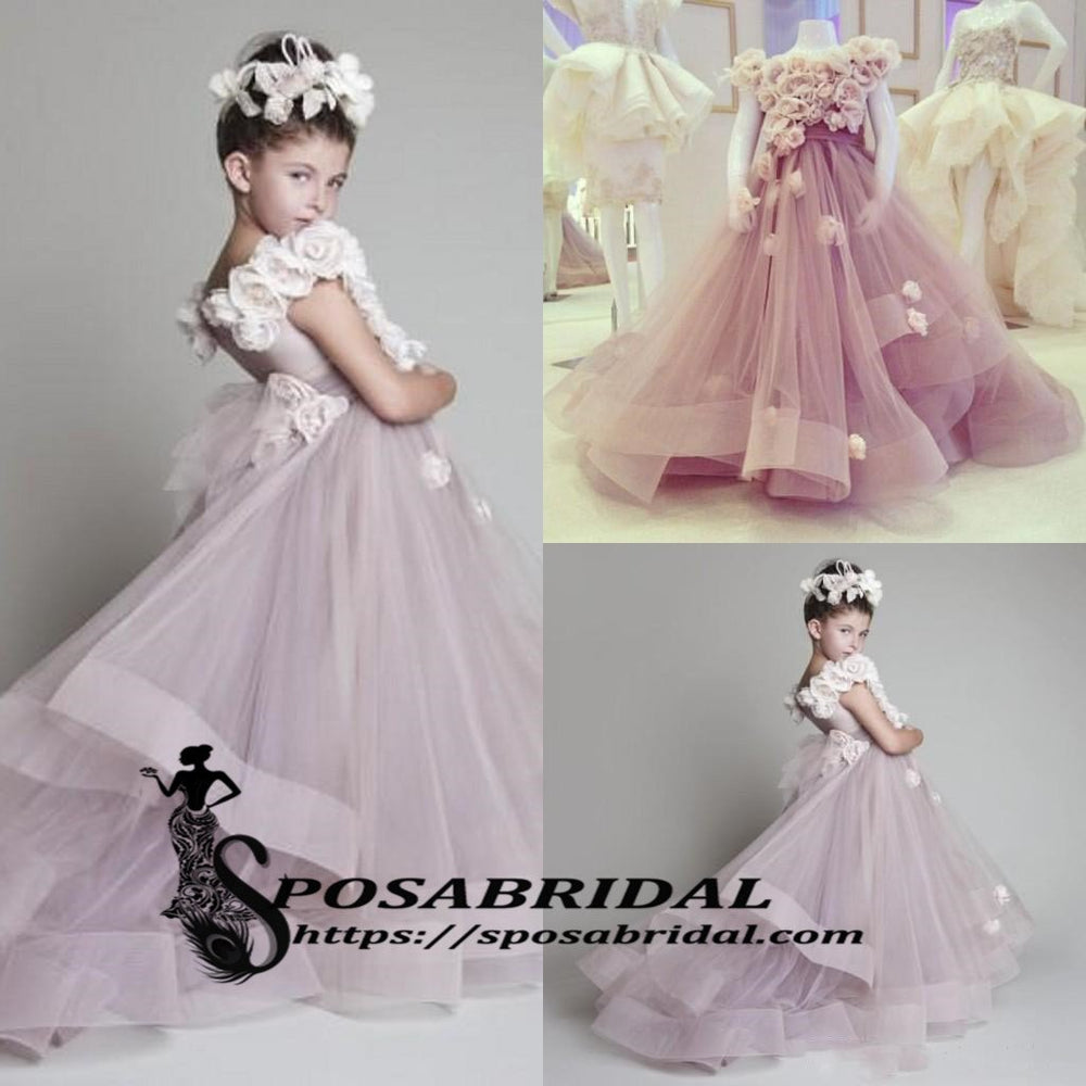 Purple Pink A Line Beautiful New Arrival Flower Girl Dress Junior
