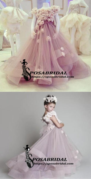 Purple Pink  A-line Beautiful New Arrival Flower Girl Dress, Junior Bridesmaid Dresses with handmade flowers, FG119