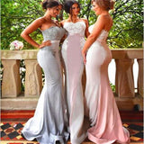Strapless Mermaid Bridesmaid Dresses,Unique Style Different Color Prom Dresses,PD206
