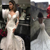 Long Sleeves Charming Mermaid Bridal Dresses Tulle Appliques Wedding Dress , PD0222