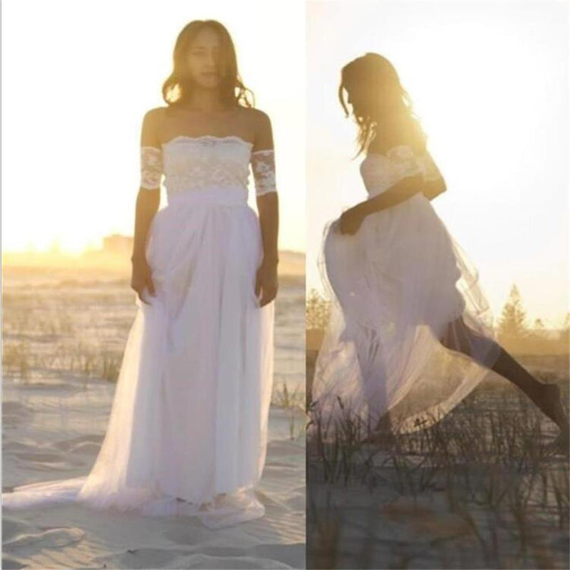 Bateau Short Sleeve White  Wedding Dress Latest Simple Lace Summer Beach Bridal Gowns , PD0224 - SposaBridal