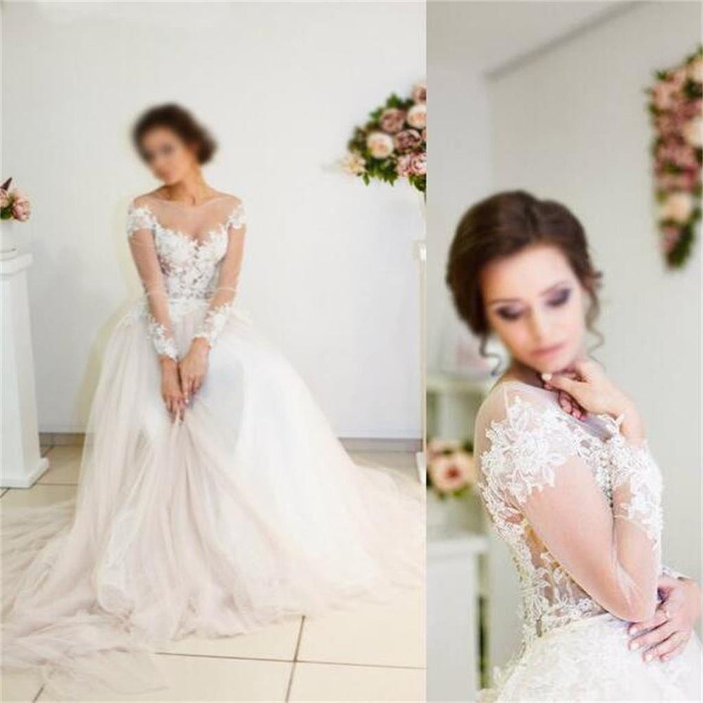 Long Sleeves Lace Appliques Tulle Pretty Beach Summer Free Custom Wedding Dresses  , WD0080