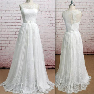 Sleeveless Soft Lace A-line Pretty Simple Floor-Length Classic Ivory Wedding Dresses, WD0116