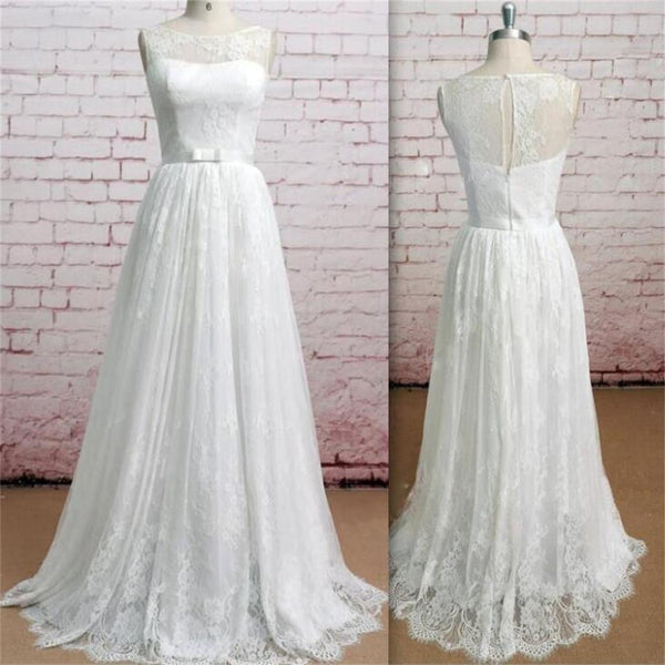 Classic Ivory Wedding Dresses: Sleeveless Soft Lace A-line Pretty Simple Floor-Length