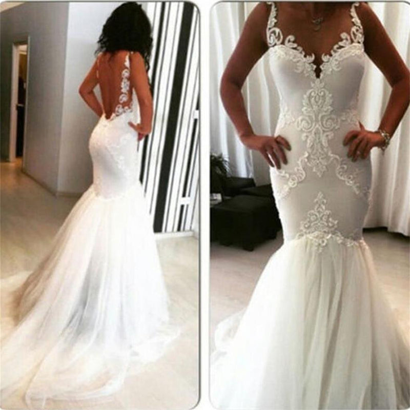 New Mermaid Sexy Backless Strips V-Neck Lace Free Custom  Handmade Wedding Dresses, PD0279