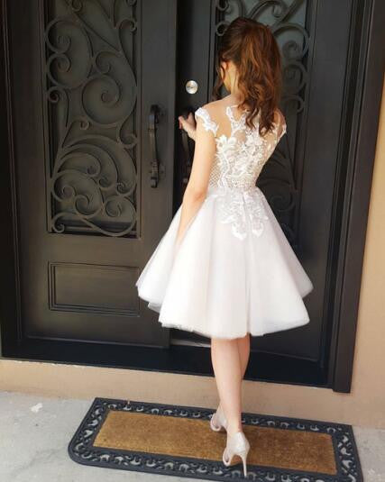 Short lace appliques tulle junior homecoming dress, pretty prom dress, prom dress for teens, BD0210