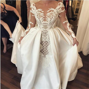 Long Unique Design Pretty handmade Satin Wedding Dresses, Charming Prom Gown, WD0210