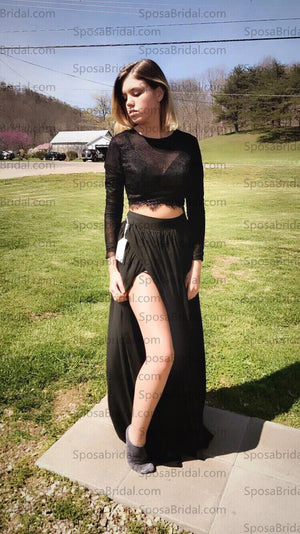 Black Long Sleeves Sexy Slit Two-piece Party Cheap A-line Prom Long Evening Party Prom Dress,PD0056 - SposaBridal