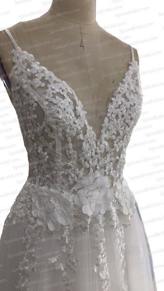 Charming New Arrival Straps Popular Pretty High Quality Lace Appliques Prom Dress, PD0371 - SposaBridal