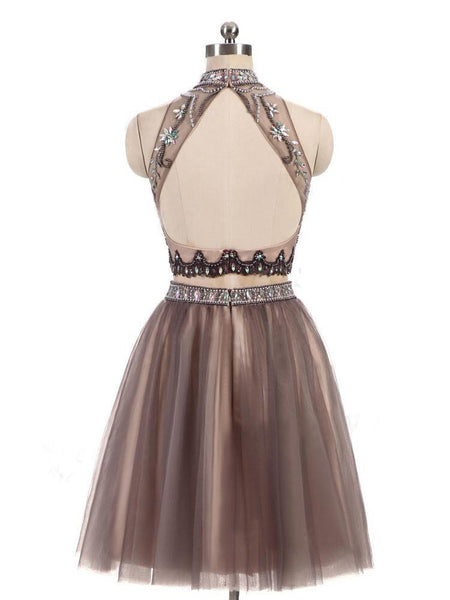 New Beading Charming High Neck Open Back Two Pieces Pretty Popular Homecoming Dresses  , BD0211