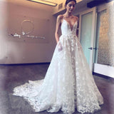 Spaghetti Straps Lace Appliques Sexy Pretty Fashion New Prom Dress, PD0386