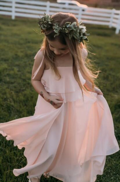 Chiffon Cheap Lovely Comfortable Cute Simple Flower Girl Dresses, Popular Little Girl Dresses, FG071