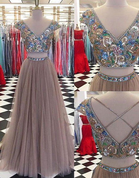 Sparkly Two Pieces Tulle V-neck Cap Sleeves Prom Dresses, Newest Fashion Dresses, PD0476