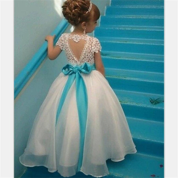 Short Sleeves Lovely Cute Lace Pretty Flower Girl Dresses With Bow