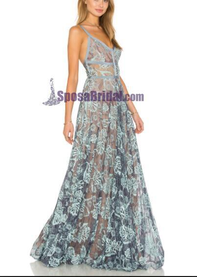 2019 Blue Lace Sexy Popular Prom Dresses, Fashion Party Dress, Spaghetti Straps Prom Dress,  PD0420 - SposaBridal