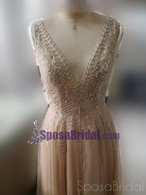 Charming Custom V neck Sleeveless Side Sleeves Most Popular Affordable High Quality Prom Dresses, PD0600