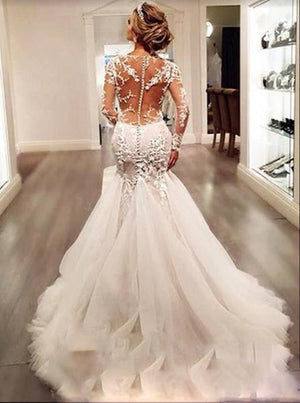 Luxury See Through Sexy Mermaid Lace Tulle Wedding Dresses, long sleeve wedding gown ,WD0198