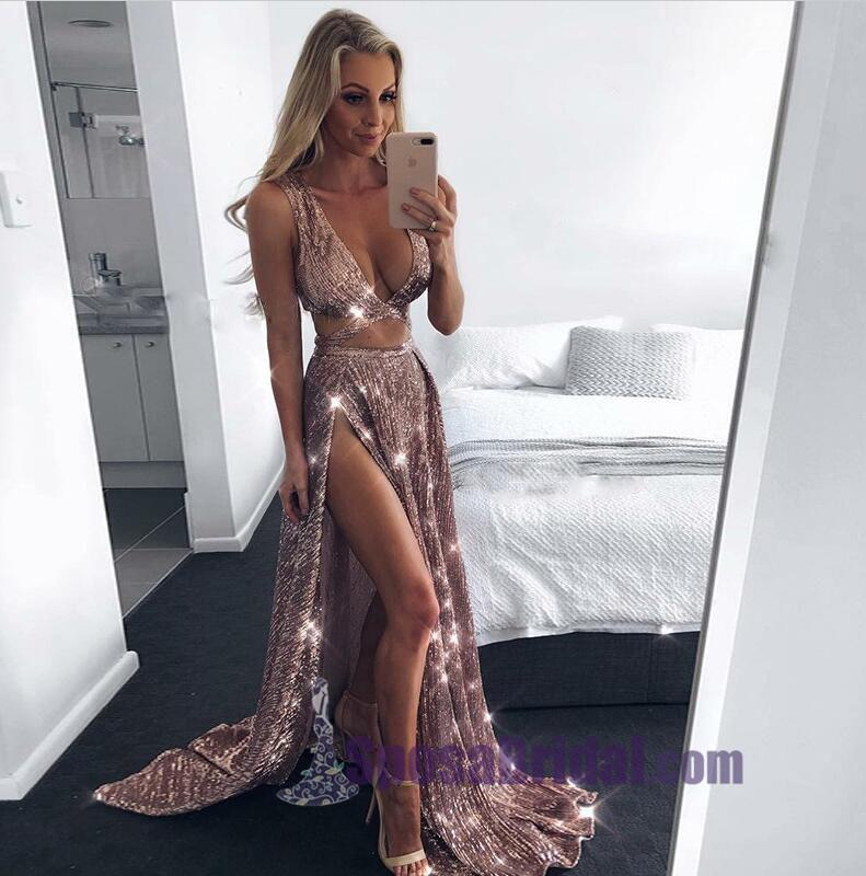 2019 A-Line Charming Sexy Sequin Sparkly Rose Gold and Black Split Prom Dresses, Evening dresses, PD0594 - SposaBridal